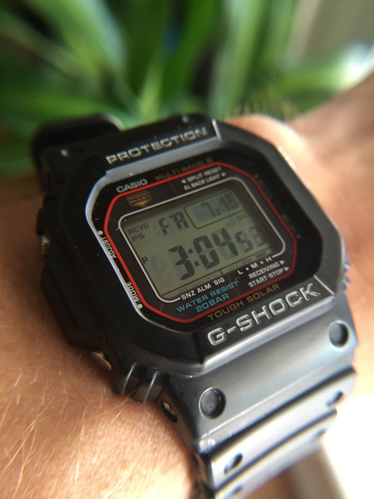Black Gshock 5600 on Wrist