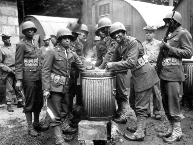 American Soliders Drawing Rations at Camp Final