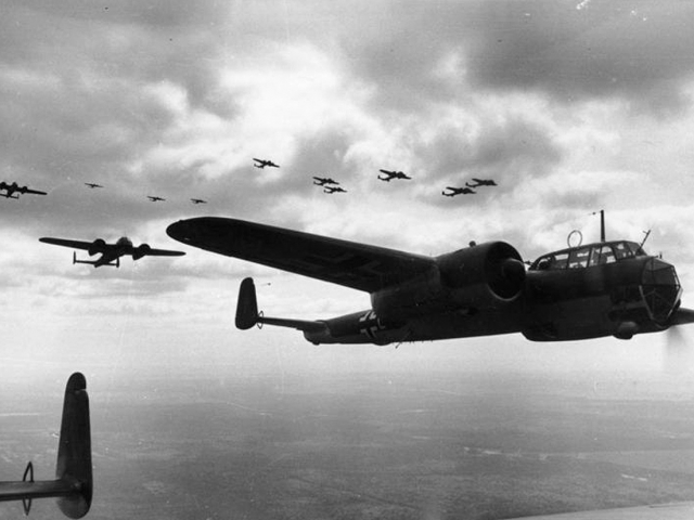 A formation of German Dornier Do 17Z light bombers, flying over France on June 21, 1940. (Deutsches Bundesarchiv/German Federal Archive)