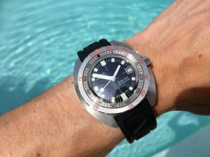 DOXA Sub 300 Sharkhunter at the pool
